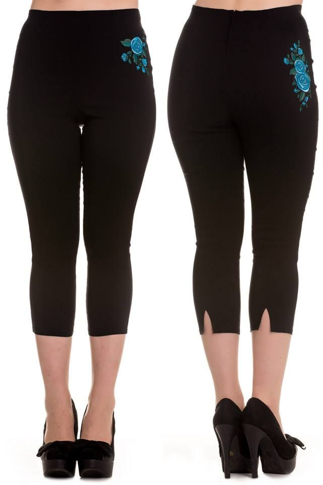 Lillian Capris in Black/Blue  Available in XS-XL $39.95
