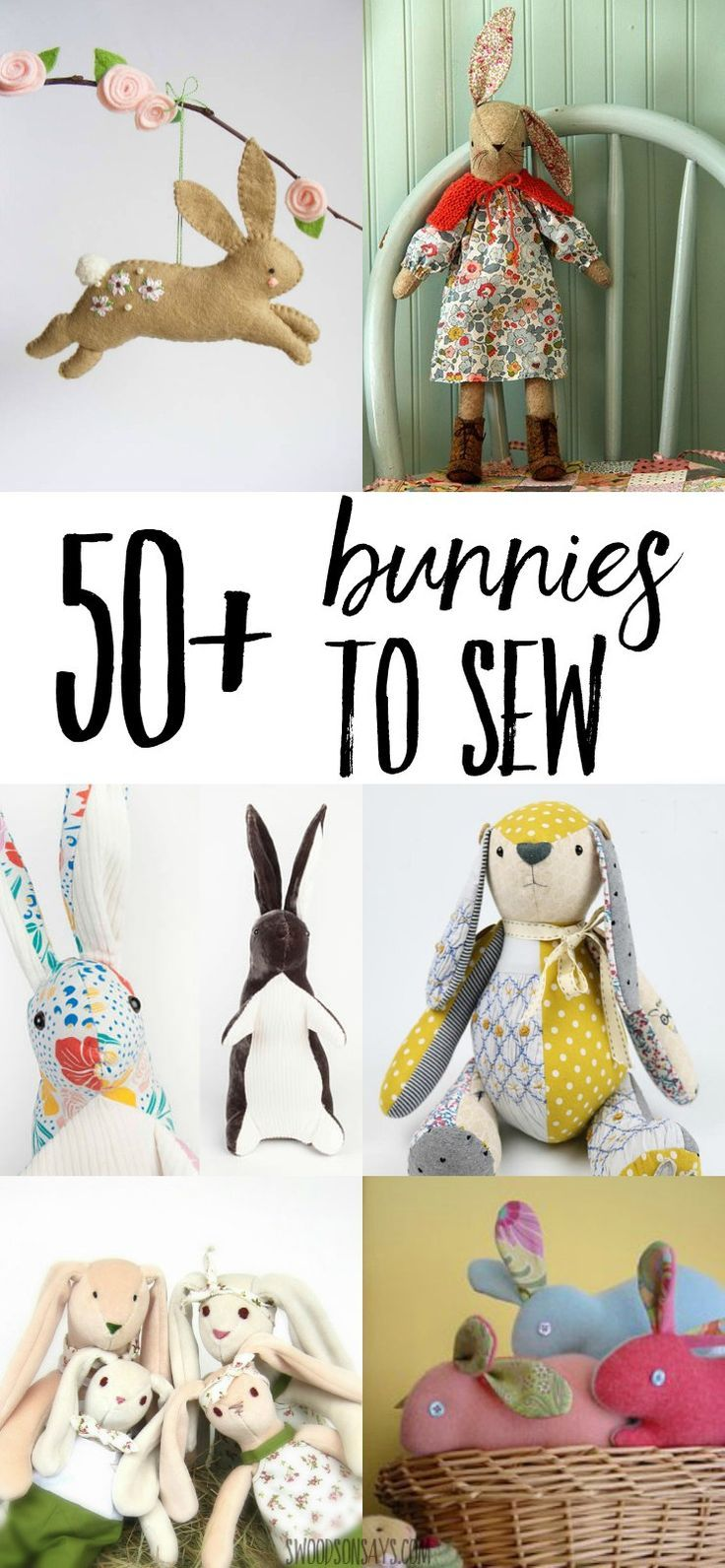 1139 best diy homemade easter crafts and treats images on pinterest 50 stuffed bunny sewing patterns negle Image collections