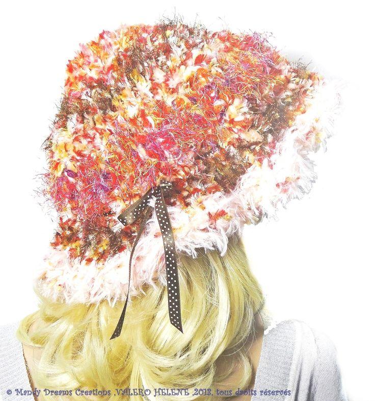 Bonnet cloche cuivré,rosé,saumon,pétillant ,laine douce,poilue,crocheté à la main, modèle unique : Chapeau, bonnet par mandy-dreams-creations