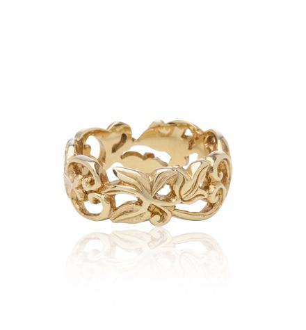 """""""Jardin"""" Carved Band, Yellow Gold"""