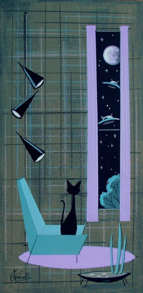 EL GATO GOMEZ PAINTING RETRO 1950S MID CENTURY MODERN EAMES CAT SPACE SHIPS MOD in Paintings | eBay
