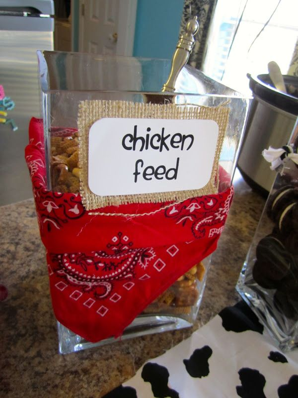 Farm party chicken feed - would be cute in a galvanized bucket