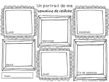 Semaine de Relâche - Spring Break Daily Drawing/Writing Activity IN FRENCH Simple, yet fun activity to do before or after Spring break. *Before Spring break this activity can be used to discuss in future tense what are some activities that can be done on each day of the week of the break. Students can review their days of the week.