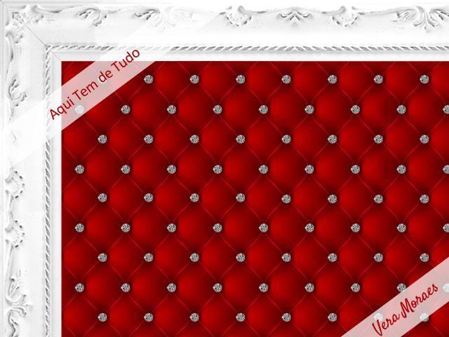 Adesivo - Cabeceira de cama capitonê vermelha com strass