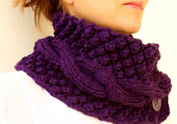 Purple Neck Warmer Chunky Scarf Knit Cowl Plum Aubergine Cable With Buttons