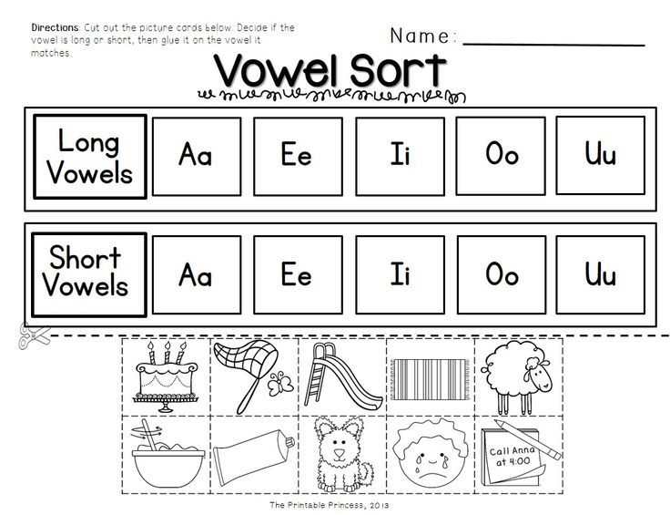 Short and Long Vowel Activities, Picture Cards, Worksheets Kindergart ...