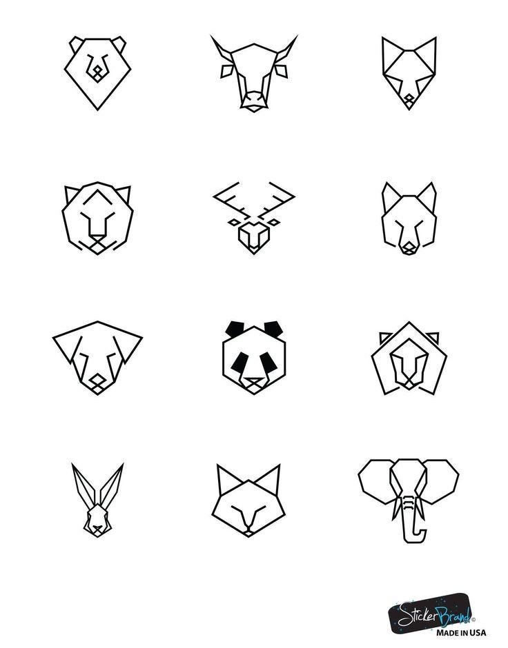 Bär, Stier, Fuchs, Tiger, Hirsch, Wolf, Hund, Panda, Löwe, Kaninchen, Katze und Elefant geometrisches Tiermuster Wandtattoo # 6091