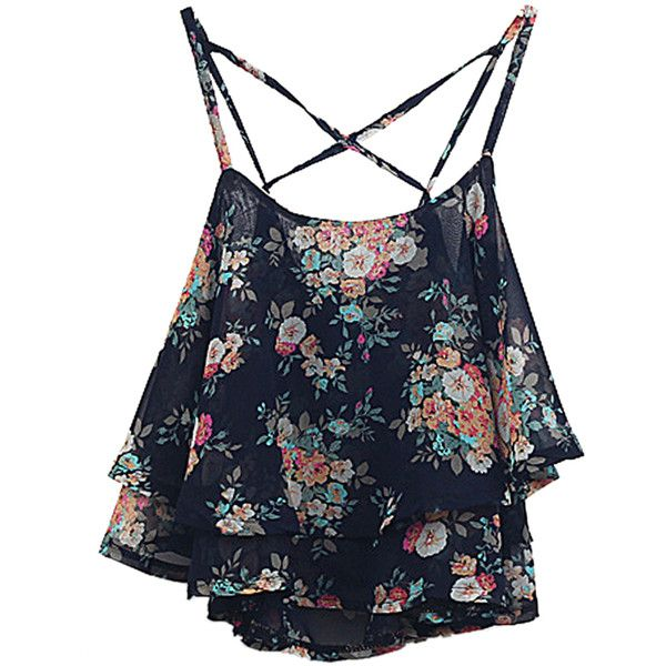 Choies Black Layer Floral Print Cross Back Cami Top ($17) ❤ liked on Polyvore featuring tops, shirts, crop tops, tank tops, black, crop tank top, layering tanks, black tank, black crop tank top and cropped cami