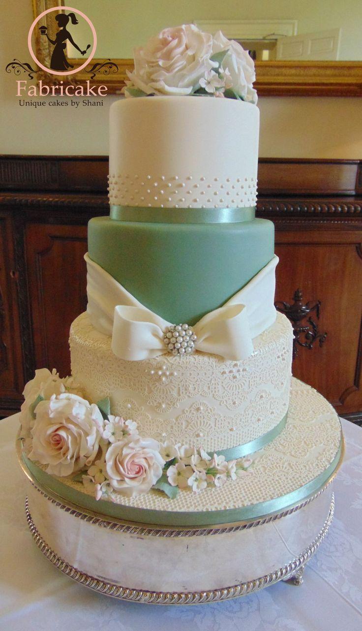 Sage Green Wedding Cake  on Cake Central. So pretty!