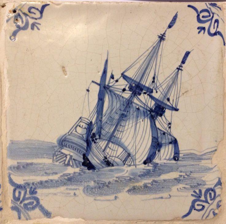 Tile with sinking ship,17th century, Museum Hannemahuis, Harlingen, Netherlands.