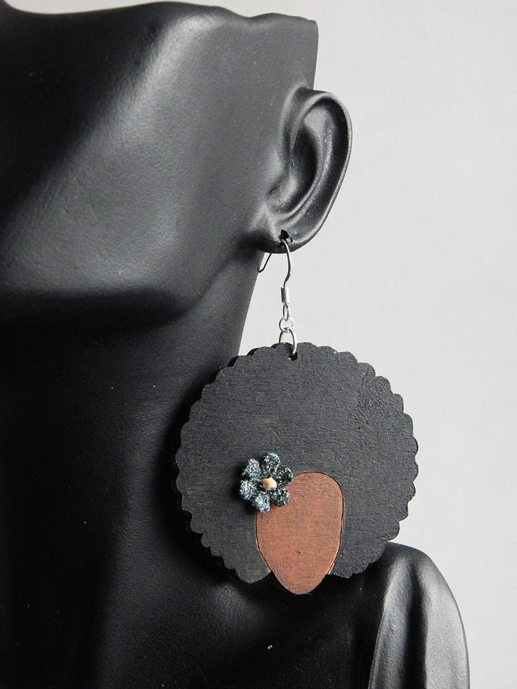 New to TheBlackerTheBerry on Etsy: Afro Natural Hair Earrings Black Afro Lady Jewelry Wood Earrings Hair Jewelry African American Black Owned Business Afrocentric