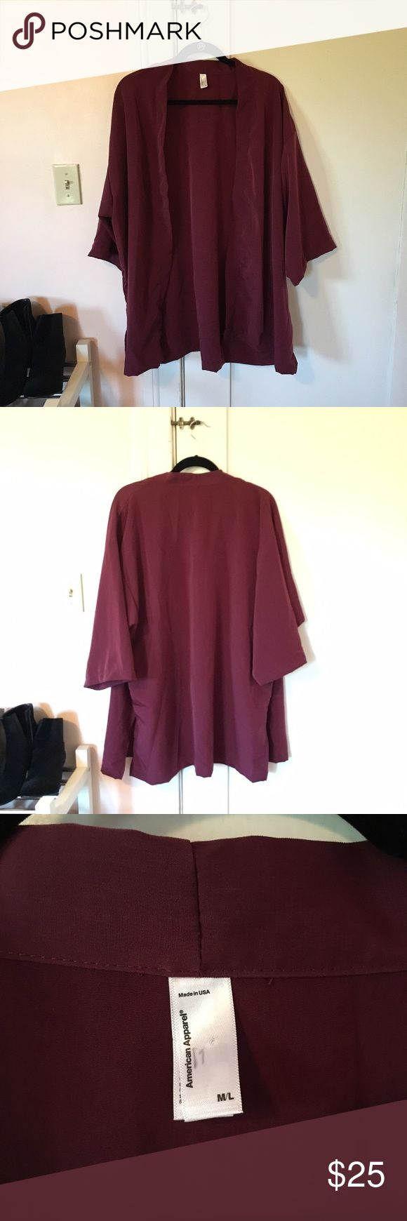 American Apparel Maroon Kimono Never worn red kimono from American Apparel. Size Medium/large but will fit a small. Arm width: 10 inches. Length: 31.5 inches American Apparel Jackets & Coats