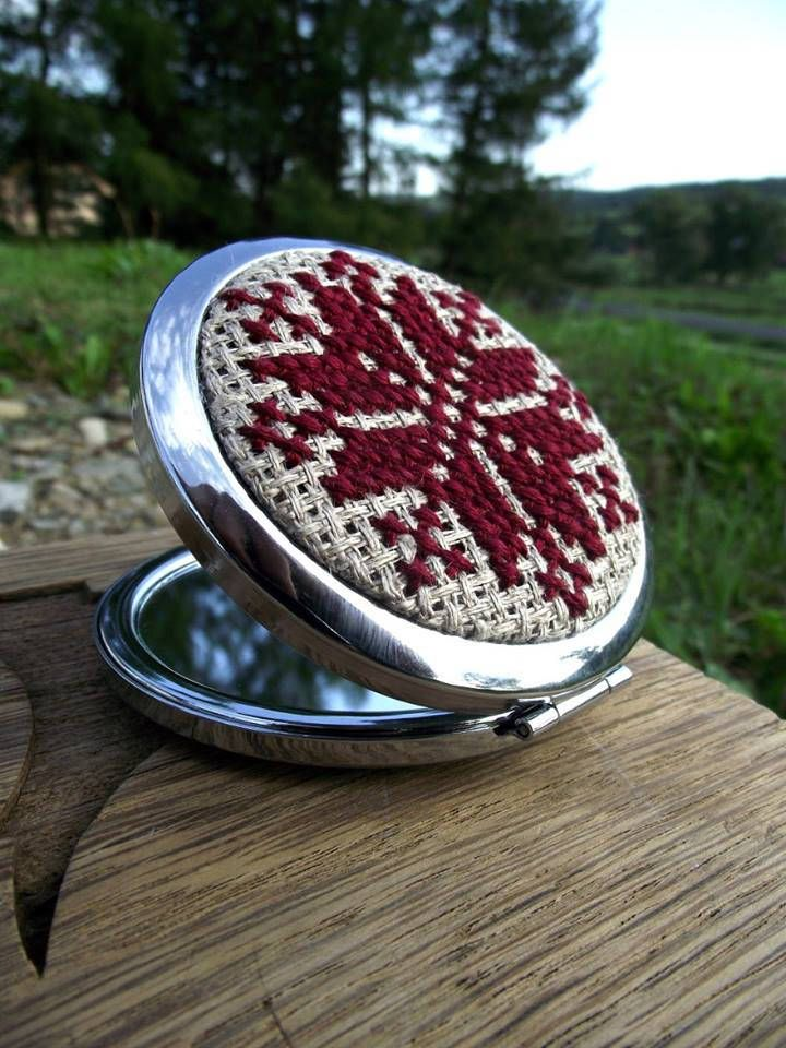 Compact mirror with hand embroidered ukrainian pattern by ZoZulkaart on Etsy