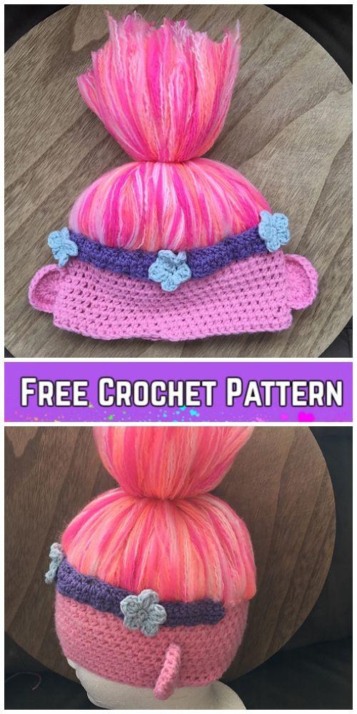 5 Crochet Poppy Troll Hat Free Crochet Patterns  7671fe9e765