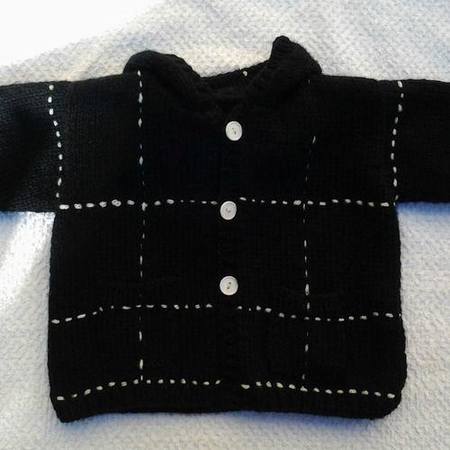 Gilet ,manteau,paletot unisexe à capuche bébé 12 mois tricoté main