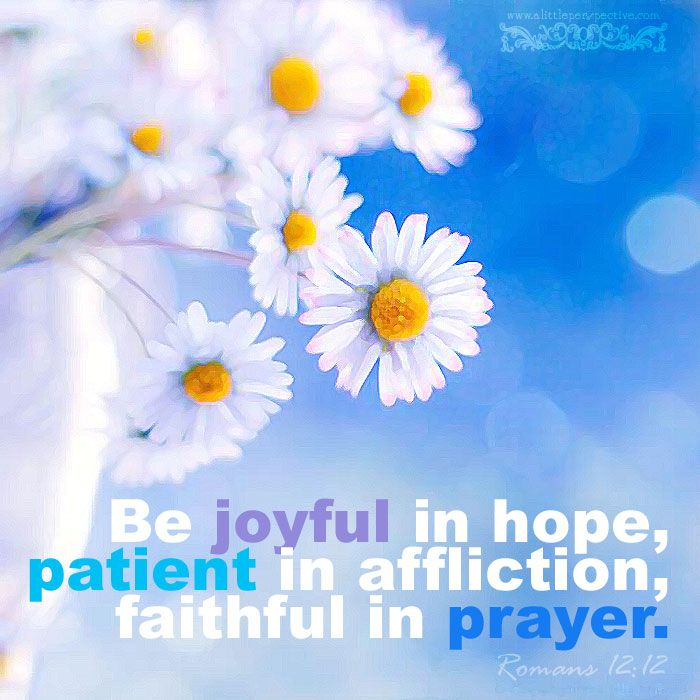 Be joyful in hope, patient in affliction, faithful in prayer. Rom ...