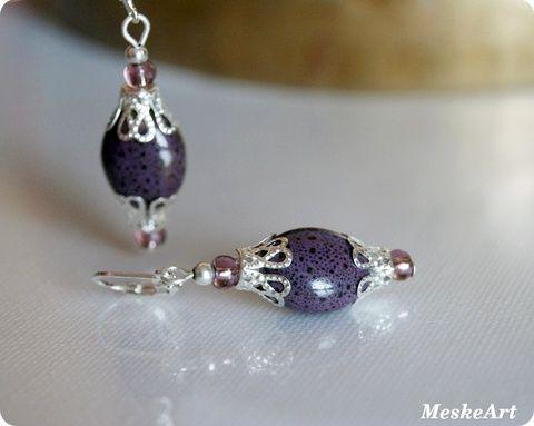 Kearmic beads earring / Áfonya kerámiagyöngy szett - karkötő, nyaklánc és fülbevaló, Ékszer, óra, Ékszerszett, Fülbevaló, Karkötő, Meska