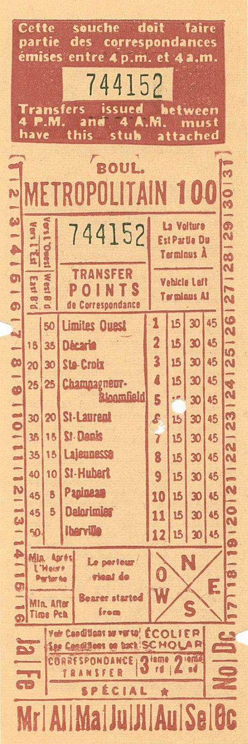 Front of transfer from Montreal (Quebec, Canada) Transportation Commission (1960s)