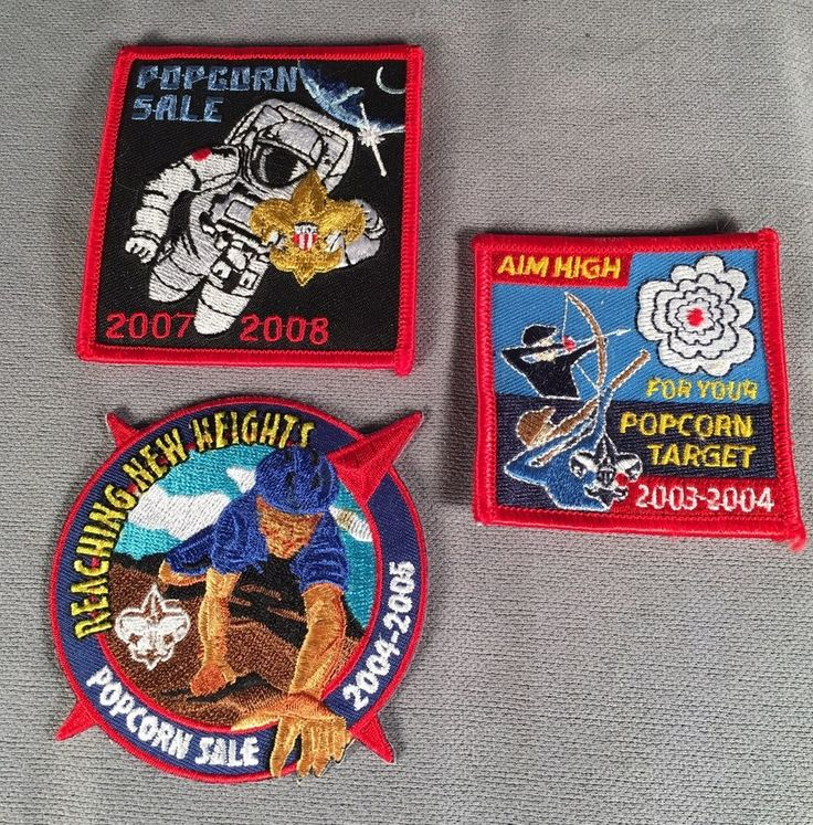 Boy Scout Patches Popcorn Sales 2003-04, 2004-05, 2007-08
