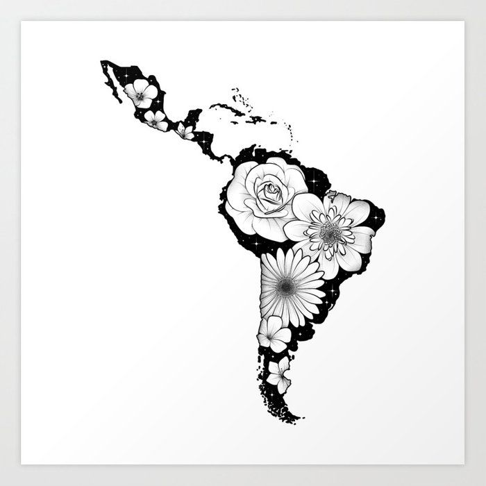 Buy America Latina with flowers and stars Art Print by trisha_x_tattoo. Worldwide shipping available at Society6.com. Just one of millions of high quality products available. X Tattoo, Tattoo Drawings, Latina Tattoo, Star Art, Hair And Nails, Rock And Roll, Tatoos, Tatting, Body Art