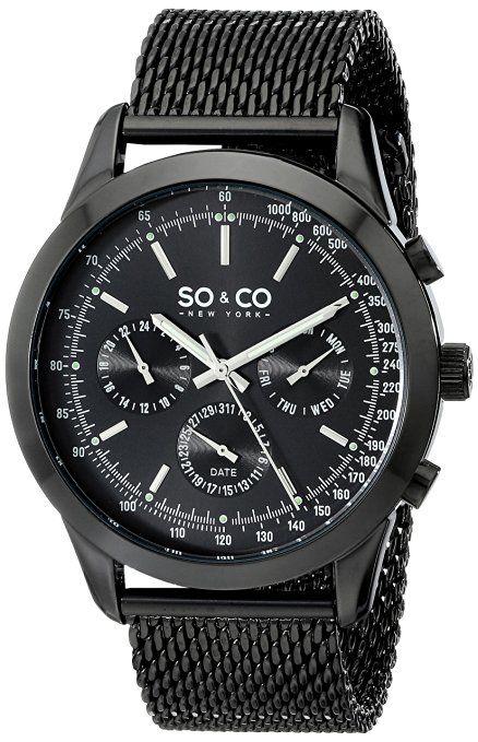 SO & CO New York 5006A.3 - Reloj de pulsera para hombres, negro