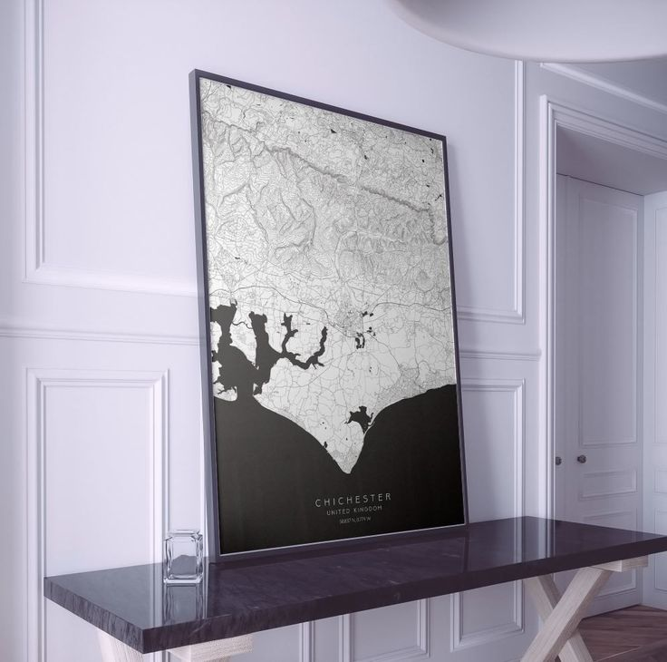 Chichester Print. Mono Topographic Style With Road Network. Custom Map Art Prints available. Check out www.mappedmoments.com  #prints #wallart #wall #follow #followme #customart #map #maps #topography #posters #newapartment