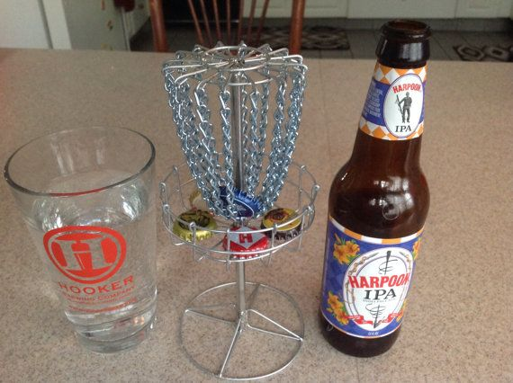 Micro mini bottle cap disc golf goal