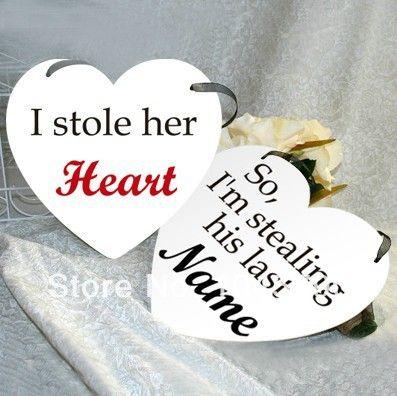 Бесплатная Доставка 1 Х Я Украл Ее сердце Его Имя С я Украл ее Сердце Свадьба Бантинг Баннер Декорации Для Вечеринок Фото Опора