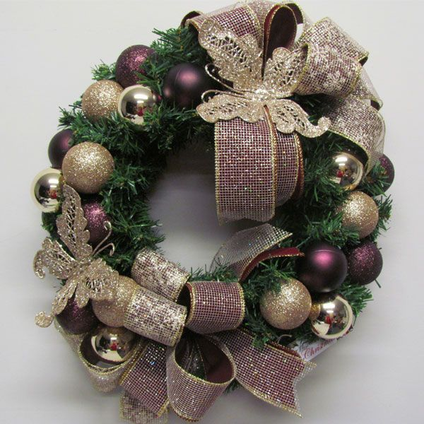 Vintage butterfly wreath in burgundy and champagne. Miss Haberdash Christmas.