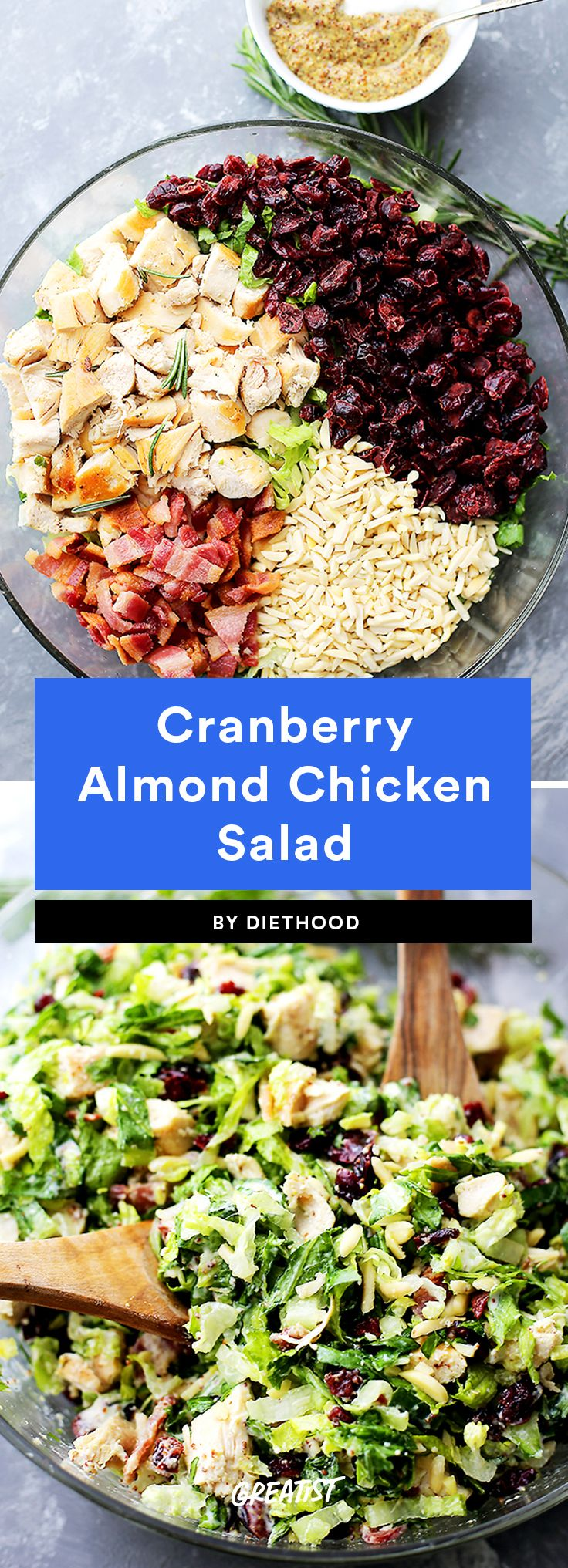 3. Cranberry Almond Chicken Salad #greatist https://greatist.com/eat/healthy-chicken-salad-recipes