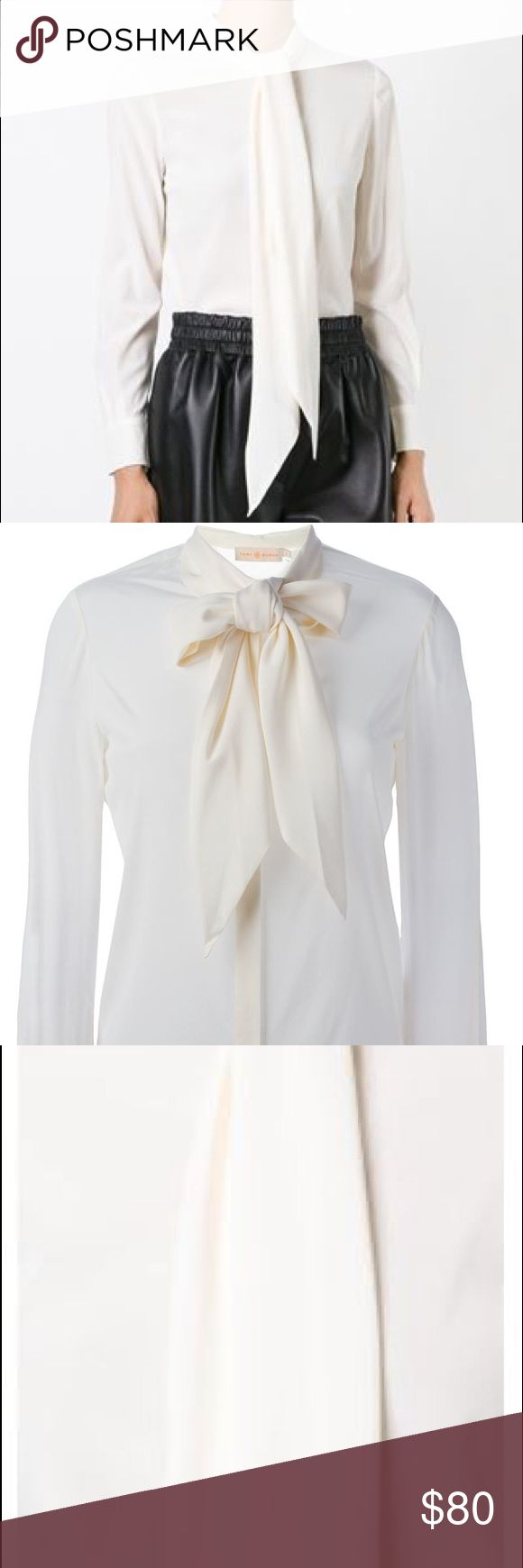 Tory Burch Pussy Bow Top White silk pussy bow shirt from Tory Burch. Tory Burch Tops Blouses
