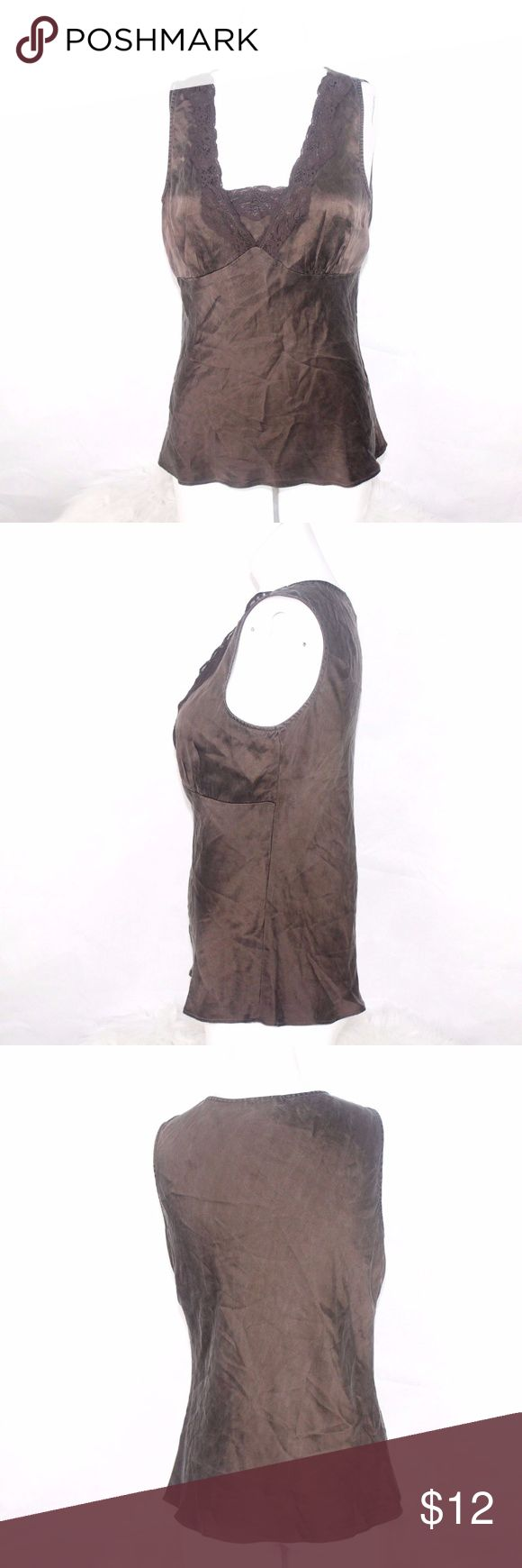 BOB MACKIE STUDIO Womens Brown Cami Silk Lace Tank BOB MACKIE STUDIO Womens Brown Cami Silk Lace Tank Cami Sz 10 E 100% Silk Bust 20 1/2 Inches Length 24 Inches Bob Mackie Tops Tank Tops