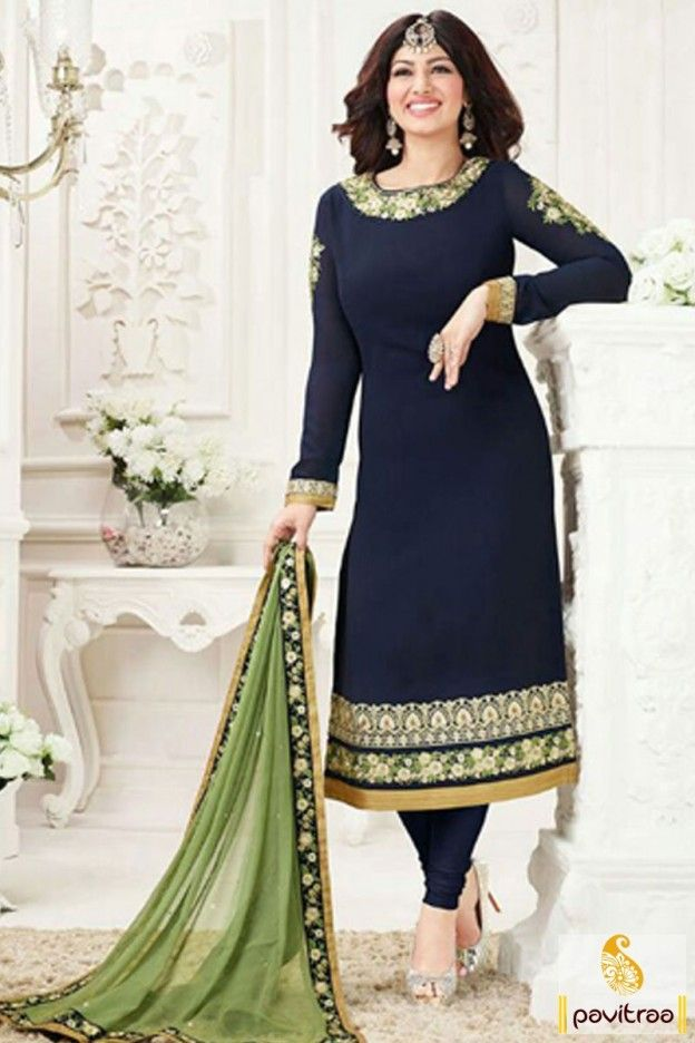 Get best divine look with impressive designer collection of cobalt blue ayesha takiya replica salwar suit online shopping with discount offer. This designer party wear dress designed with floral embroidery pattern. #salwarsuit, #strightdress more: http://www.pavitraa.in/store/dresses/