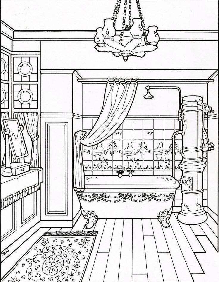Bathroom coloring page   Coloring pages, Victorian house ...