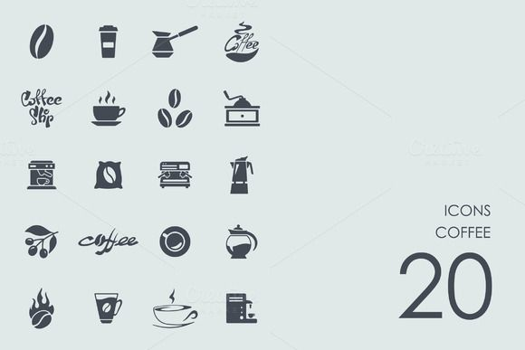 Coffee icons by Palau on @creativemarket