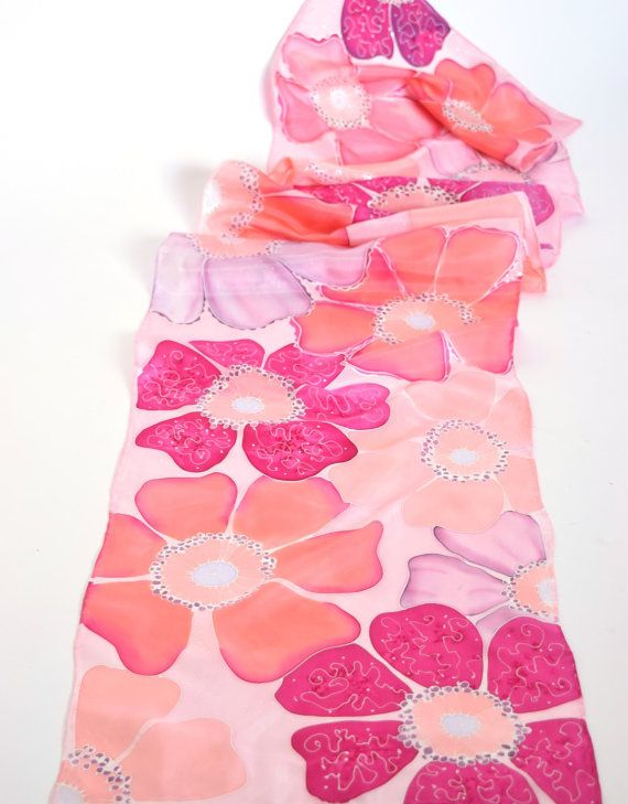 Silk scarf hand painted, pink floral scarf, pink scarves Pink Floral Scarf .Mauve, Pink, Rose, The perfect accent to any outfit. Add a splash of color to your business suit or a fun touch to your everyday best. I hand painted this silk scarf especially for you to make you or a loved one feel more beautiful! There is nothing like the caress of silk on your skin to make you feel more feminine. I never leave home without a scarf, and neither should you. A scarf is a womans best friend for…