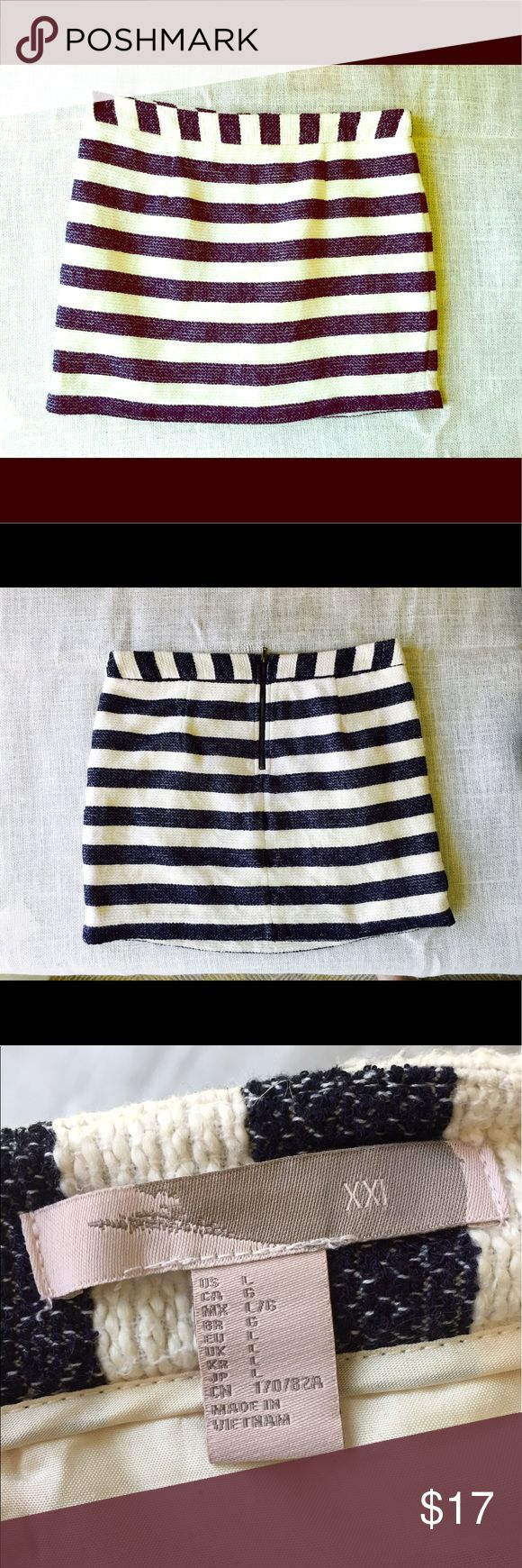 Woven Striped Skirt This woven skirt has a tan and navy stripe to it and it almost looks chambray. Gorg! Forever 21 Skirts Mini