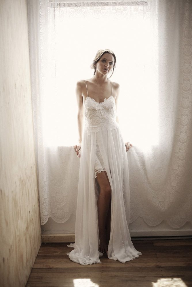 Boho wedding dress lace wedding dress vintage boho beach for Lace beach wedding dresses