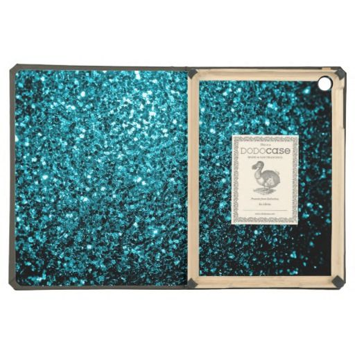 SOLD! Beautiful Aqua blue glitter sparkles DODOcase iPad Air Case by #PLdesign #SparklesGift #AquaBlueSparkles #iPad #SparklesiPad #iPadAir #iPadCase