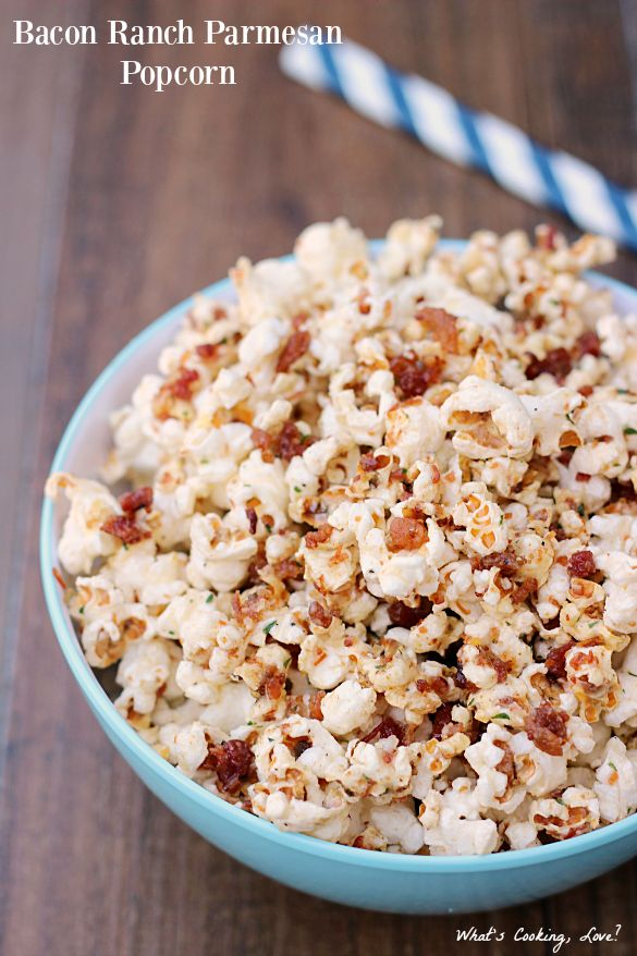 Bacon Ranch Parmesan Popcorn.  An easy snack or appetizer that combines popcorn with bacon, ranch, and Parmesan cheese.