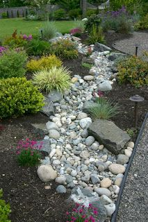 Dry creek bed with landscaping. This is beautiful.