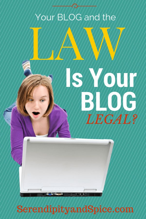 Legal stuff for bloggers. Blogging can be fun but there's a few legal issues you need to check to make sure you're covered. Great legal stuff for bloggers