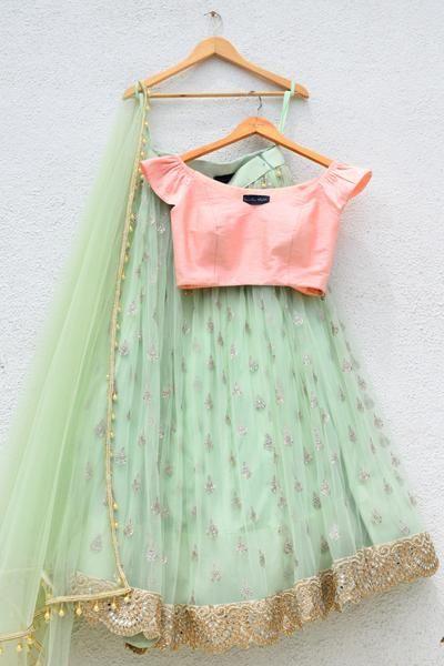 268588b7e5d4d0 Mint Green Lehenga with Peach Pink Blouse Set