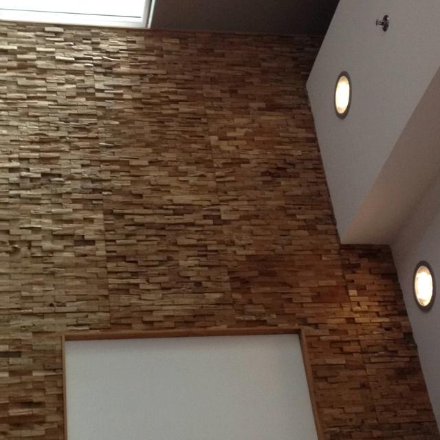 Zeyn utrecht stukjes hout als mozaiek op de muur online dialogue mansion pinterest utrecht - Houten trap monteer ...