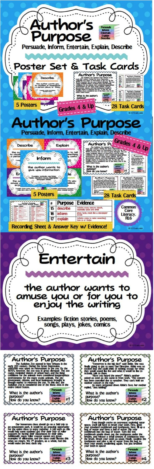 This Author's Purpose pack is for teaching the expanded 5 author's purposes: Persuade, Inform, Entertain, Explain, and Describe. Teach author's purpose with these 5 colorful posters including definitions and examples and 28 task cards for upper grades. The paragraphs on the task cards for author's purpose are more complex than other cards intended for use with 2nd-3rd graders and challenge students in upper elementary and middle grades. A recording sheet and answer key is included…