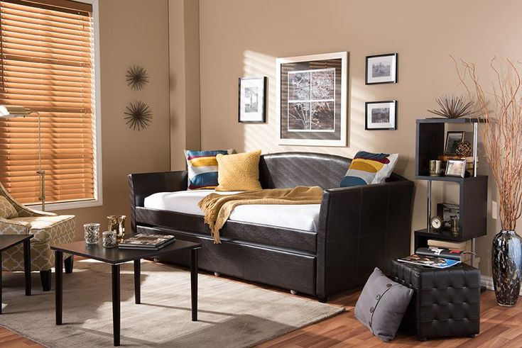 London Brown Faux Leather Sofa Twin Daybed Roll-Out Trundle Guest Bed WL-0529-WI