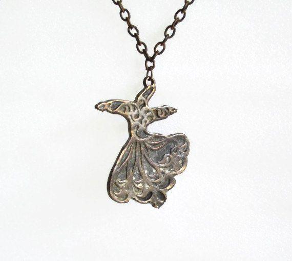 WHIRLING dervish pendant, vintage brass NECKLACE. Meditating dancing Seljuk Sufi semazen, Zen jewelry ascetic Mevlevi jewellery