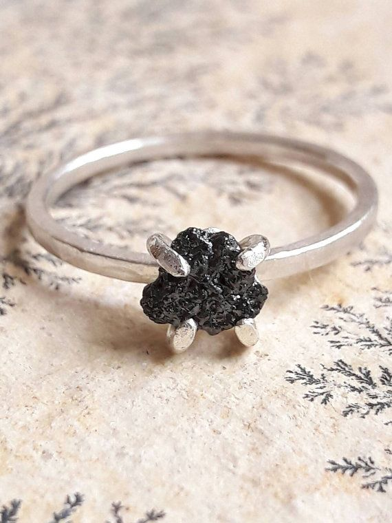 Ruw Black Diamond en Sterling Silver Ring  de Ring van de