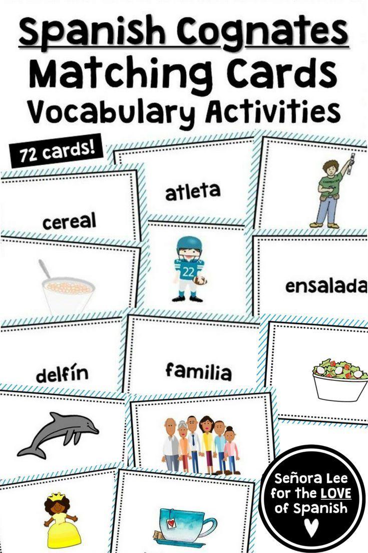 English Spanish Cognates Matching Vocabulary Cards Spanish Cognate Activities Build Spanish Vocabulary Quickly Spanish Cognates Cognates Spanish Vocabulary