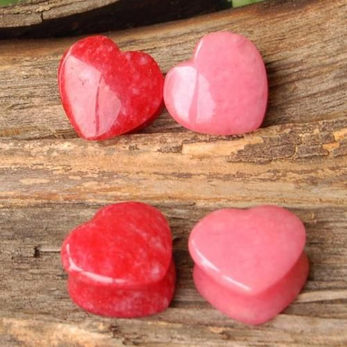 Combo 2 Pair Set Stone Heart Shape Red Pink Jade Organic Saddle Ear Plug Gauge | eBay